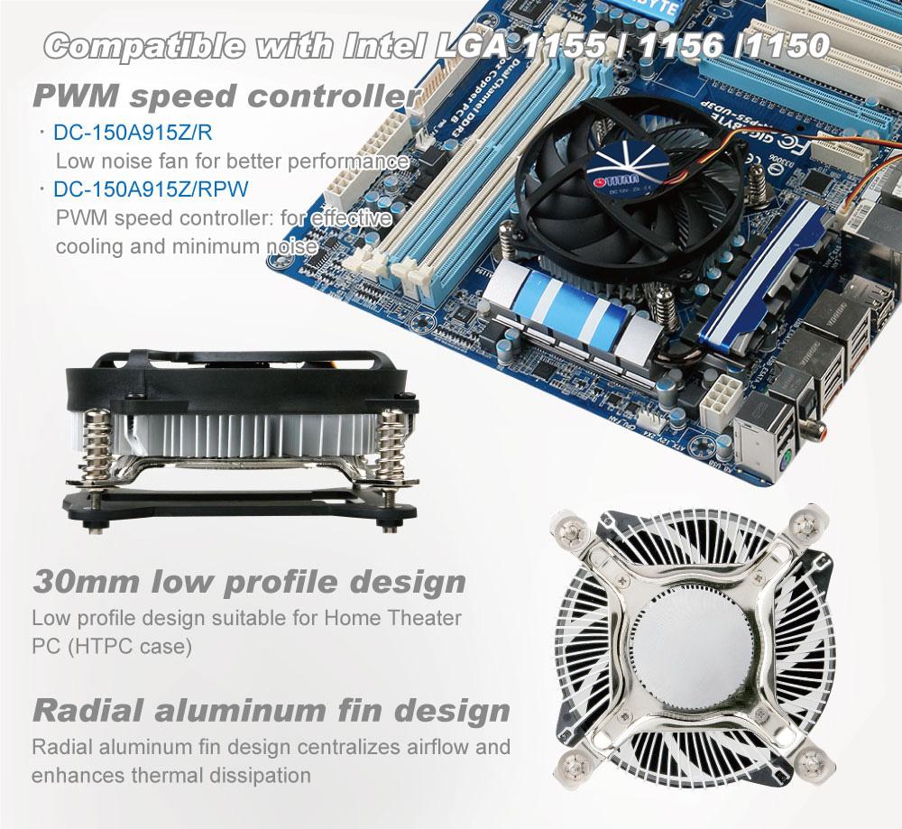 Intel LGA 1155/1156- Low Profile Design CPU Air Cooler with