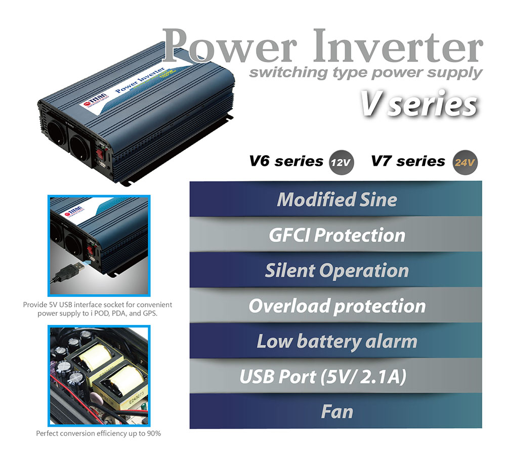 car power inverter, modified sine wave power inverter, the difference features from TITAN modified sine wave power inverter, 300W power inverter, 300W modified sine wave inverter