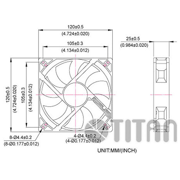 TITAN 120mm x 120mm x 25mm DC axial cooling ventilation fan dimension drawing