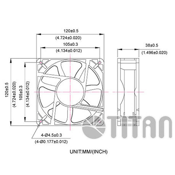 dc cooling fan with 120mm x 120mm x 38mm series supply