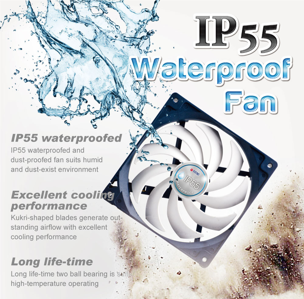waterproof fan, dustproof fan, IP55 cooling fan, 140mm cooling fan, cooling fan