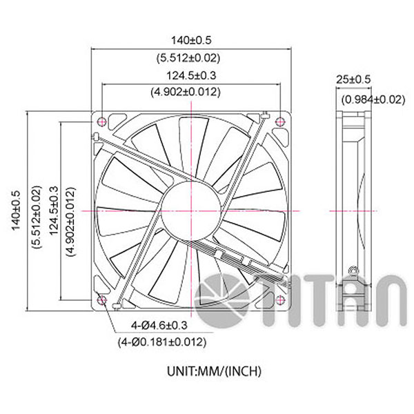TITAN 140mm x 140mm x 25mm DC axial cooling ventilation fan dimension drawing