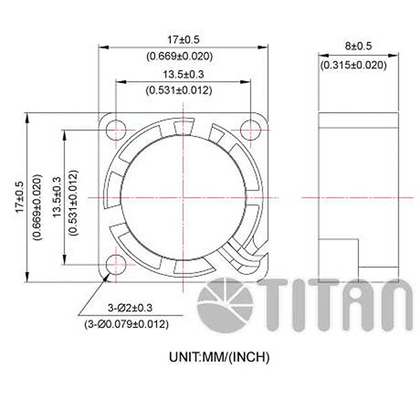 TITAN 17mmx 17mm x 8mm DC axial cooling ventilation fan dimension drawing