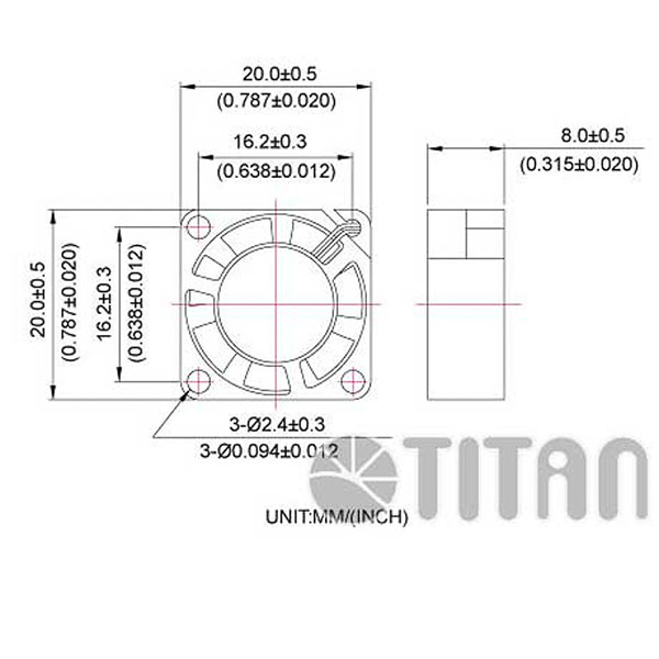 TITAN 20mmx 20mm x 8mm DC axial cooling ventilation fan dimension drawing