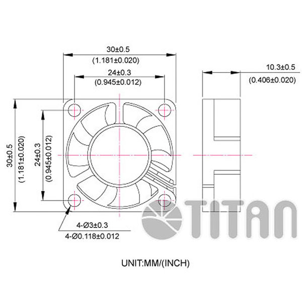TITAN 30mmx 30mm x 10mm DC axial cooling ventilation fan dimension drawing