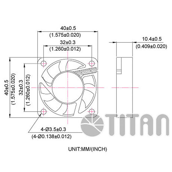 TITAN 40mmx 40mm x 10mm DC axial cooling ventilation fan dimension drawing