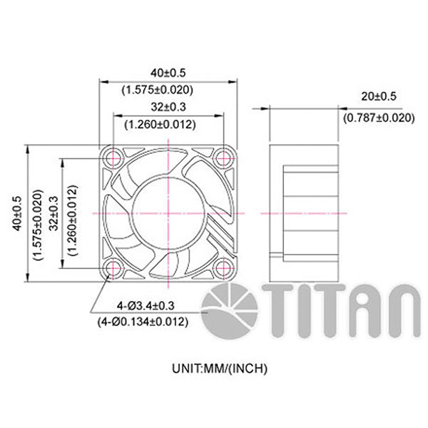 TITAN 40mmx 40mm x 20mm DC axial cooling ventilation fan dimension drawing></div><div class=