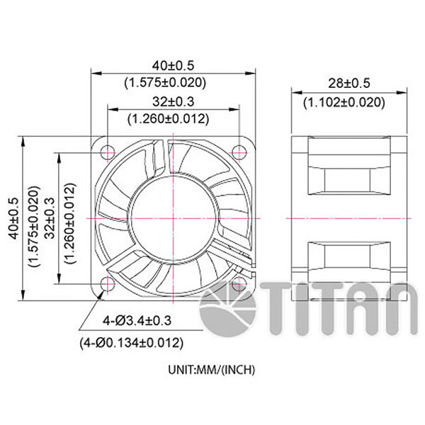 TITAN 40mm x 40mm x28mm DC axial cooling ventilation fan dimension drawing