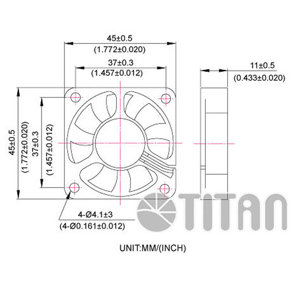TITAN 45mm x 45mm x 10mm DC axial cooling ventilation fan dimension drawing
