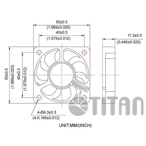 TITAN 50mm x 50mm x 10mm DC axial cooling ventilation fan dimension drawing