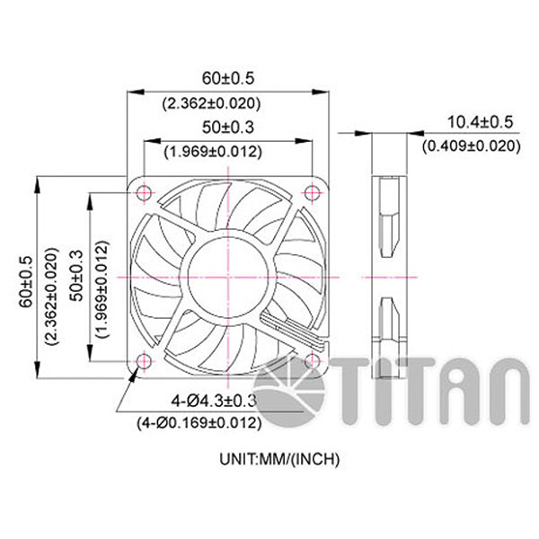 TITAN 60mm x 60mm x 10mm DC axial cooling ventilation fan dimension drawing></div><div class=