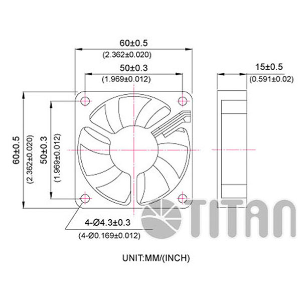 TITAN 60mm x 60mm x 15mm DC axial cooling ventilation fan dimension drawing