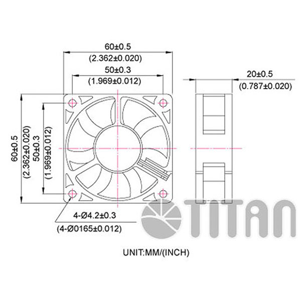 TITAN 60mm x 60mm x20mm DC axial cooling ventilation fan dimension drawing