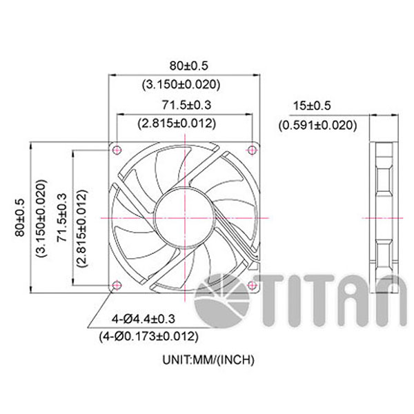 TITAN 80mm x 80mm x 15mm DC axial cooling ventilation fan dimension drawing