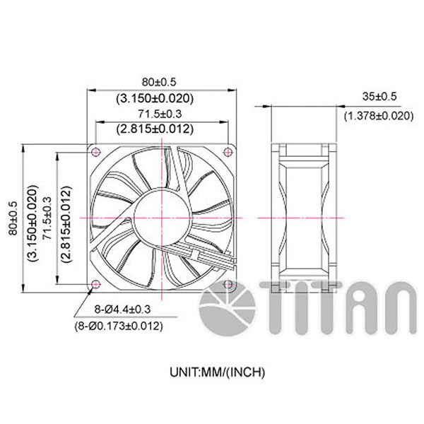 TITAN 80mm x 80mm x 35mm DC axial cooling ventilation fan dimension drawing