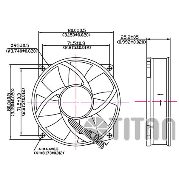 TITAN 95mm x 95mm x 25mm DC axial cooling ventilation fan dimension drawing
