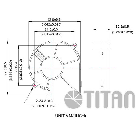 TITAN 97mmx 33mm Blower fan dimension drawing