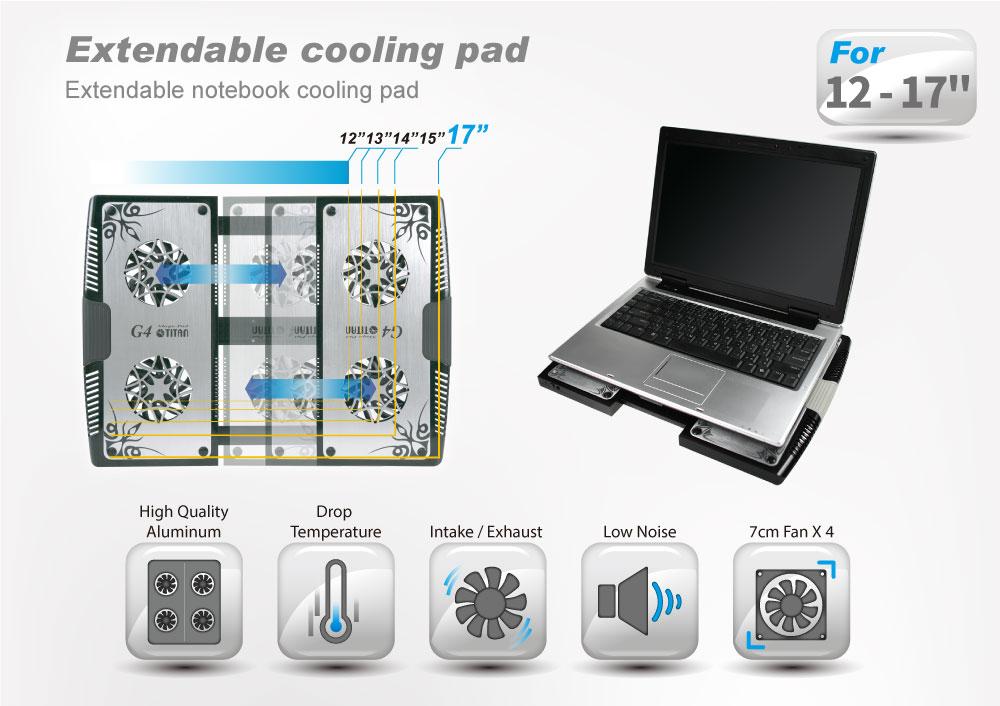 "1410c5eee20d 5V DC 12"" - 17"" Laptop Notebook Extendable Cooler Alumiunum Pad with ..."