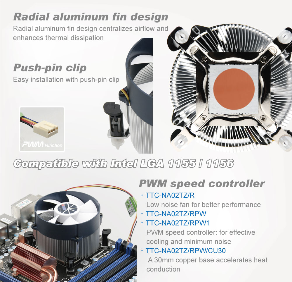 Intel LGA 1155/1156 CPU Air Cooler with Aluminum Cooling