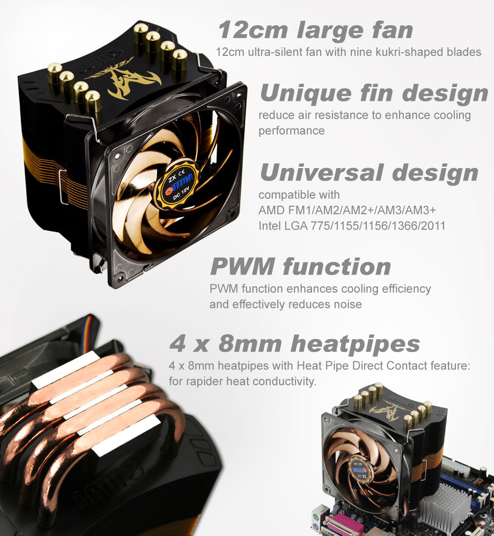 TITAN / CPU / PWM / Cooling / Cooler / CPU Cooler / CPU Cooling / CPU Fan / CPU Cooling Fan / System Cooling / Heatsink / Heat Transfer / Heat Dissipation / Cooler Fan / Frozen CPU / Heat Pipes / 4 Heat Pipes